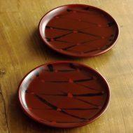 s1588-80-5 φ17.5x2.0茶に黒網目銘々皿