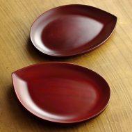 s1591-60-2 16.5x12.9朱葉形銘々皿