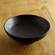 s1674-240-1 φ18.5x6.3高台黒漆ロクロ目鉢 (栗) 落合 芝地