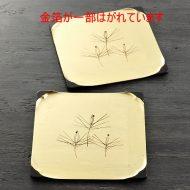 s1688-120-1 18.8x18.8黒ぬり金箔張り松柄角皿