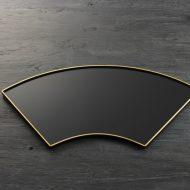 s1699-200-1 42.5x21.5黒縁金扇盆(輪島塗五島屋)