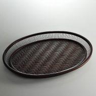 s2014-200-1 φ40.0x30.4x3.5竹製網代楕円盆