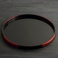 s2125-150-1 φ31.5x2.0平安堂白檀黒あめ色柄丸盆