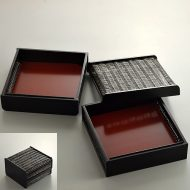 s2515-120-1 21.0x19.8x13.0黒塗竹製二段弁当