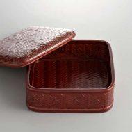 s2541-120-1 16.5x16.5x6.5網代角ふたつき菓子鉢