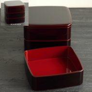 s2572-450-1 1段18.2x18.2x5.4越前塗ため色三段重箱