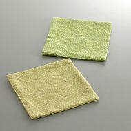 s3055-15-1 10.5x10.5綿鮫小紋和コースター からし色 黄緑