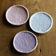 s3068-25-3 φ10.0フェルトパステル丸コースター ピンク、水色、紫 溝口 恵子