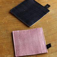 s3071-15-1 8.0x8.0Jピリオード 麻角コースター ピンク、紺