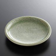 t1068y-15-1 φ12.3タイ薄緑花から草小皿