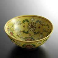 t3023-45-1 φ16.0x6.7黄色花から草中華ボール
