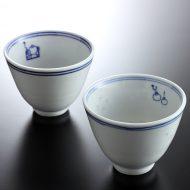 t4053-15-2 φ7.5x5.6染付飲茶柄茶器
