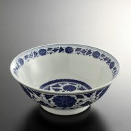 t5089-30-1サイズ:φ20.2x7.7藍花唐草ラーメン鉢