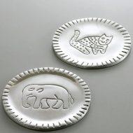 t5554-10-1 φ8.3銀色インド動物柄コースター ヒョウ ゾウ