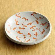 w1537-20-1*φ14.0白釉朱唐草小皿
