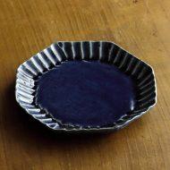 w1564-100-1*φ15.0藍しのぎ八角皿(藤井 敬)
