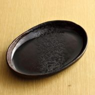 w1566-30-1*17.8x12.5濃茶だ円つやだ円皿