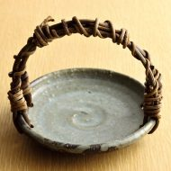 w1579-75-1*φ13.7x11.6グレー青かずら手つき小皿