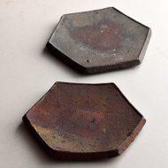 w1585-60-2*φ12.5「素焼き六角小皿(境道一)