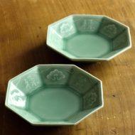 w1586-45-2*φ12.3x2.3薄緑八角皿