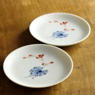 w1610-30-2*φ12.8香蘭社白磁花絵小皿
