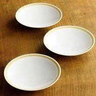 w1705-30-3*φ12.7x2.2  白に薄茶ライン小皿φ12.7cm 白山陶器