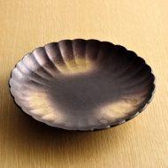 w2066-451*φ19.0x3.3こげ茶金ぼかし菊形皿