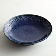 w2069 縁模様藍色皿(石田裕哉)