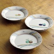 w2115-453*φ17.3x2.8九谷焼皿 なす、ほおずき、くわい