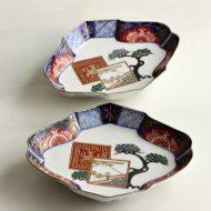 w2120 骨董絵菱形皿