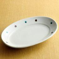 w2146-501*21.5x14.5x3.3青/茶水玉楕円皿 大