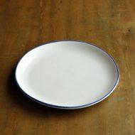 w2187-601*φ18.8粉引き青ライン皿