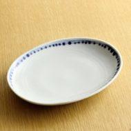 w2191-501*17.8x14.0x2.5染付だ円皿