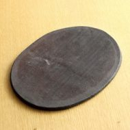 w2198-401*25.0x19.3黒楕円素焼き平皿