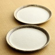 w2230-452*φ16.2縁薄茶刷毛目中粉引き皿