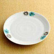 w2267-601*φ18.7青鉄色花柄青磁皿