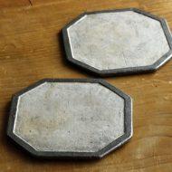 w2319-902*φ15.5縁黒中白釉薬八角板皿(井内 素)