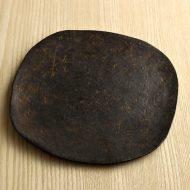 w2501-165-1 20.0x20.0金銀採黒素焼き角丸平皿(安齋新厚子)