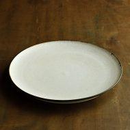 w2544-1201 φ24.5生成り縁茶ライン大皿