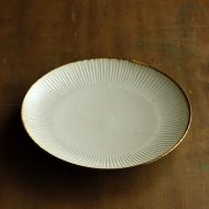 w2659-1201 φ20.5x3.0縁鉄色うす茶しのぎ皿(黒木泰等)