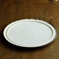 w2671-751 φ27.0粉引き縁鉄釉ラインリム皿