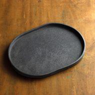 w2680-2401 29.3x22.0x1.8黒マット縁高変形皿
