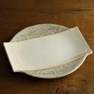w2687-2001 24.5x23.8中角きなり縁素焼き皿