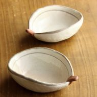 w3012-15-2 9.5x7.0x3.0粉引き楕円豆鉢