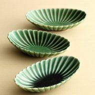 w3027-30-3 13.2x7.5x3.0緑菊舟形豆鉢