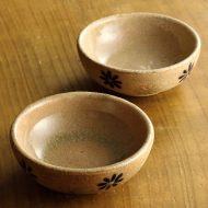 w3578-20-2 φ10.8x3.7素焼きすく面花柄小鉢
