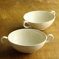 w3583y-45-2 16.5x11.7x4.5両手つき口広粉引きスープカップ