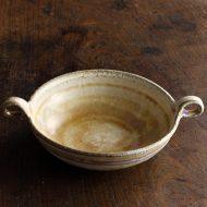 w3586-100-1 18.5x13.8x5.2ベージュ両手つき鉢(八木橋 昇)