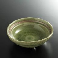 w3615-15-1 φ12.5x3.9緑内茶ライン入浅鉢