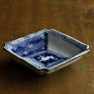 w3636-90-1 15.5x13.0x3.2京焼古染付菱形鉢